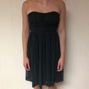 Black strapless flowy dress